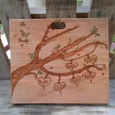Just finished another Mothers Day Family Tree cutting board. Just have to condition the back with coconut oil, let it soak in, and then will be shipping it out! Happy Mom's Day! https://smolderingcreationswoodburning.com