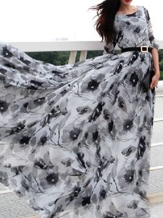 Choies Limited Edition Gray Floral Long Sleeves Maxi Dress