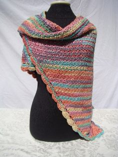 Rainbow sherbert hand crocheted shawl wrap with moss stitching and scallop edging - Ready to Ship - OOAK by BearMtnCrochet on Etsy