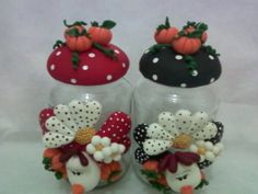 Clay Jar, Fimo Clay, Polymer Clay Crafts, Bottle Painting, Bottle Art, Mason Jar Crafts, Mason Jars, Clay Pot Crafts, Decorated Jars
