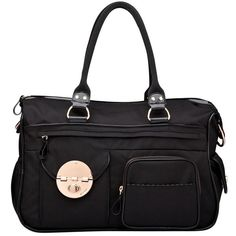 Mimco Lucid Baby Bag (249 AUD) ❤ liked on Polyvore featuring bags, handbags, black, top handle purse, mimco purse, mimco bags, nylon purse and mimco handbags