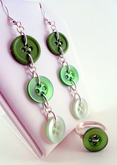 FREE SHIPPING - Green Button Wire Wrapped Ring and Earrings Jewelry Set by ErinBearCreations, $15.00