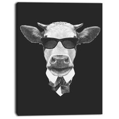 """DesignArt 'Funny Cow in Suit with Glasses' Graphic Art on Wrapped Canvas Size: 40"""" H x 30"""" W x 1"""" D"""