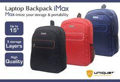 uNiQue Premium Backpack iMax  uNiQue Premium Backpack iMax ini dapat menjadi pilihan anda untuk perlindungan laptop ketika bepergian, baik untuk ke kampus maupun untuk keperluan pekerjaan. Dapat memuat hingga ukuran laptop 15 inci dengan fitur peredam getaran dan goncangan dari luar untuk proteksi laptop maksimal.