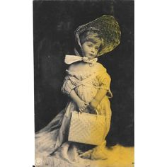 Young Girl Playing Dress Up Unused RPPC Real Photo Postcard