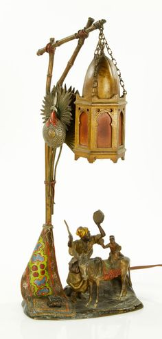 Austrian cold painted bronze lamp