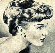 Retro fifties pin curl, bang with wave, good for lots of hair lengths