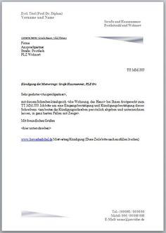 Kündigung Mietvertrag Vorlage und Muster - Kündigungsschreiben