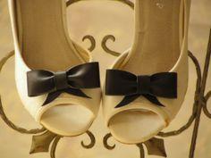 BLACK BOW Shoe clips Leather Style Wedding Black Shoe by carellya, $29.00