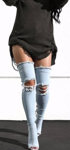 #winter #fashion /  Black Knit Dress + Denim Destroyed OTK Boots