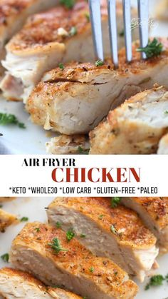 This Air Fryer Chicken Breast is perfectly tender, juicy and so easy to make in less than 30 minutes in your air fryer! Serve it with your favorite healthy sides for an easy chicken dinner. Gluten-free, low carb, keto, Whole30 compliant. #keto #whole30 #lowcarb #glutenfree #paleo