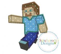 Minecraft Steve Applique Set-3 sizes