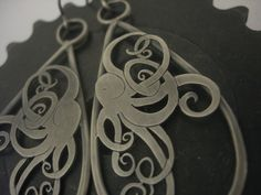 Octopus Drop Earrings. Silver. $210. Available now.  All items hand cut or cast and forged with love by bmf jewelry in Minneapolis, MN. http://www.brittanyjewelry.com/collections/217849-all-products/products/4236221-octopus-drop-earrings-large.