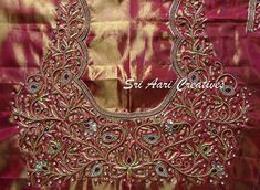 No photo description available. Cutwork Blouse Designs, Wedding Saree Blouse Designs, Embroidery Neck Designs, Simple Blouse Designs, Blouse Neck Designs, Hand Work Blouse, Maggam Work Designs, Designer Blouse Patterns, Maggam Works
