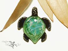 Green Earth Turtle Pendant Glass Pendant by CreativeFlowGlass