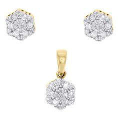 10K Yellow Gold Diamond Hexagon Shape Earring Studs & Pendant Charm Set 1/4 CTW.