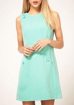 Light Green Buttons Round Neck Sleeveless Polyester Dress