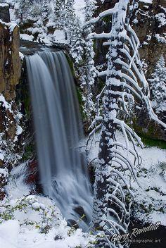 Tumalo Falls in white, Bend, Oregon.