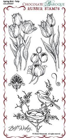 Spring Bird Tulip Rubber Stamp sheet - DL