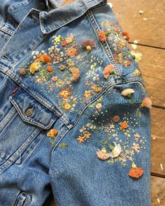 Embroidery, including STUMPWORK 2019 clothing clothing labels clothing patches clothing wholesale flower clothing fly shirts shirts for ladies shirts sunshine coast style clothing tee shirts clothing Sommer Garten Hochzeits Kleider Diy Embroidery, Embroidery Stitches, Embroidery Designs, Denim Jacket Embroidery, Ribbon Embroidery Tutorial, Embroidered Clothes, Embroidered Flowers, Crocheted Flowers, Fabric Flowers
