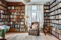 The perfect reading room. Might need a comfier chair or a reading nook off of the room.
