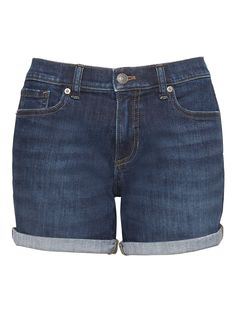 "Roll-Up Medium Wash 6"" Denim Short 
