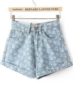 Jeansshorts mit Blumenmuster in hoher Taille, blau 19.69