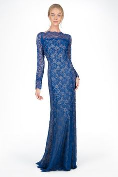 Chantilly Lace Long Sleeve Gown in Blue Lagoon - Evening Gowns - Evening Shop | Tadashi Shoji