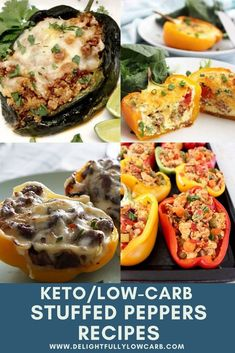 Stuffed peppers are a great keto meal option. Bell peppers are low in carbs and make a perfect vessel for so many different fillings. Try these great recipes to keep your keto dinner rotation fresh and exciting. | Stuffed Pepper Recipe | Main Dish Recipe | Keto Recipe | Low Carb Recipe | #recipe #stuffedpepper #keto #lowcarb Low Carb Stuffed Peppers, Cheese Stuffed Peppers, Best Low Carb Recipes, Keto Recipes, Healthy Recipes, Easy Dinner Recipes, Great Recipes, Food Dishes, Main Dishes