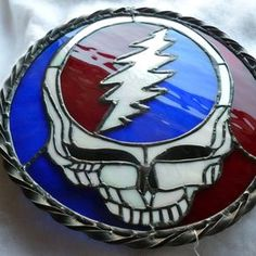 Stained Glass Panel The Grateful Dead-Inspired Steal Your Face by Trish York Making Stained Glass, Stained Glass Projects, Phil Lesh And Friends, Stoner Art, Grateful Dead, Glass Panels, Best Part Of Me, Artsy Fartsy, American Flag