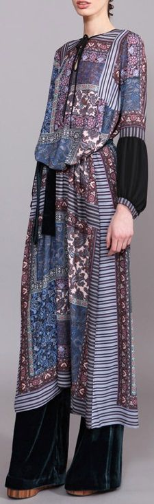 Clover Canyon Patchwork Paisley Georgette Dress