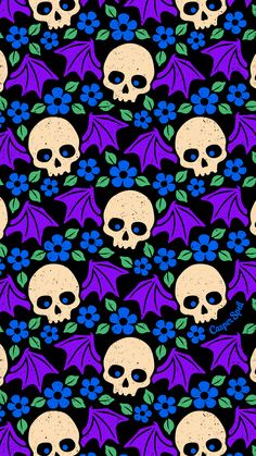 Phone Wallpapers Bat Winged Skulls Bat Winged Skulls pattern for you! Feel free to save as your phone lock screen. *For Personal Use Only. Witchy Wallpaper, Holiday Wallpaper, Halloween Wallpaper Iphone, Halloween Backgrounds, Screen Wallpaper, Cool Wallpaper, Wallpaper Backgrounds, Iphone Wallpaper, Wallpaper Ideas