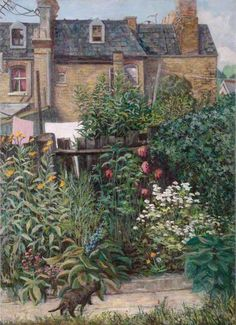 SUSAN SHIPP A Back Garden in Islington, London (c.1965).  The reason I pinned this is because it reminds me of 25 years living in a Victorian terrace in London.