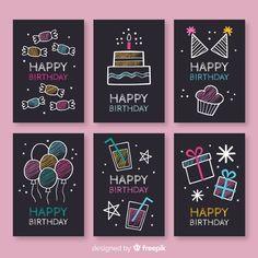 Colección de tarjetas de cumpleaños en p... | Free Vector #Freepik #freevector #cumpleanos #invitacion #feliz-cumpleanos #fiesta Creative Birthday Cards, Cute Birthday Cards, Birthday Card Template, Bday Cards, Handmade Birthday Cards, Diy Birthday, Birthday Greetings, Happy Birthday Signs, Birthday Cake