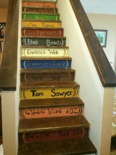 Books painted on the risers of the stairs Book Stairs, Stairs And Doors, Front Door Porch, Front Doors, Painted Stair Risers, Library Plan, Red Hen, Home Upgrades, Staircase Design