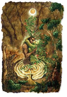 Cerne and The Goddess - A richly symbolic image depicting the Celtic 'Horned God' Cerne or Cernunnoss in passionate embrace with his consort, The Goddess. Cerne is traditionally Lord of the Animals and The Goddess is generally associated with the 'Sacred Forest' of all life on Earth. The forest, however, needs animals to spread the seeds and pollenate the flowers., and the animals need the forest to provide food and shelter. As such, neither can survive without the other.