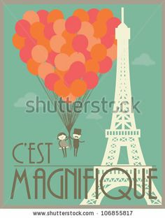 Couple flying holding balloons in paris template vector/illustration