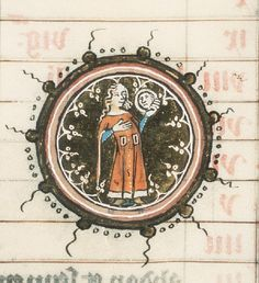 14th century (ca.1350-1366) Southern Netherlands The Hague, RMMW, 10A 14 - Missal (winter part) fol.4v - Calendar: August, Virgo http://www.kb.nl/manuscripts/search/manuscript/extended/page/1/shelfmark/10+A+14