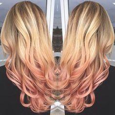 Image result for dip dye blonde hair rose gold