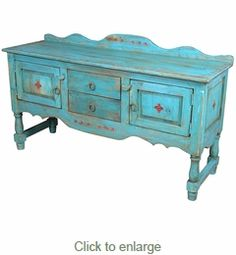 Turquoise Blue Santa Fe Style Buffet or Entertainment Console. I think I would prefer it in red but I really like this Decor, Furniture, Santa Fe Decor, Painted Furniture, Mexican Decor, Western Decor, Dining Furniture, Southwest Style, Southwest Decor
