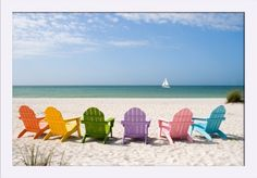 Colorful Beach Chairs - Lantern Press Photography (24x16 Giclee Art Print, Gallery Framed, White Wood), Multi