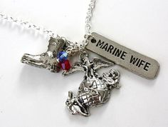 Marine Wife Charm Necklace with Boot EGA by TheCharmedLifeForMe, $16.00