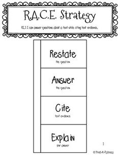 Freebie: RACE Strategy foldable for writing or answering q