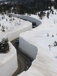 Snow walls in Kurobe, Toyama, Japan. Part of me wants to touch that wall, and the other part wants to stay far away
