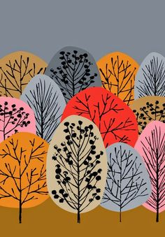Construction Paper Trees:  overlapping paper after drawing in trunks, branches…