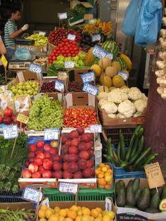 peach, apricot, fruit, market, cherry Market  Greece