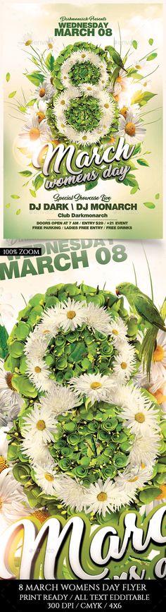 8 March Women Days Flyer Template PSD
