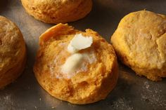 Save this fall baking recipe to make a batch of Sweet Potato Biscuits.