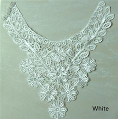 1 PC White Embroidered Flower Hollow Lace Collar Appliques DIY