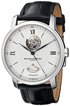 dc5e06fd8d5 Amazon.com  Baume   Mercier Men s MOA08869 Automatic Stainless Steel with  Synthetic Leather Croco-Embossed Black Band Watch  Watches